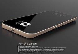 Double_lin Metal Aluminum Case w/ Gorilla Glass for S6 Edge - Gold/Black