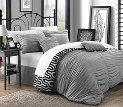 Chic Home 7 Piece Lessie Pleated Contemporary Comforter Set - Silver/Queen