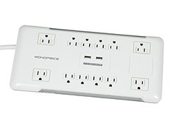 Monoprice 109203 12 Outlet Power Surge Protector with 2 Built-In USB Charger Ports, 4230 Joules