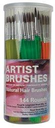 144 Camel Hair Round Art Craft Hobby Paint Brushes New!