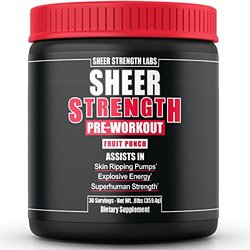 SHEER STRENGTH PRE WORKOUT - #1 Best Preworkout Supplement Powder On Amazon - Naturally Sweetened - No Jitters/Crash - Science-Backed Formula For The Best, Most Satisfying Workouts Of Your Life! Fruit Punch 359.4G