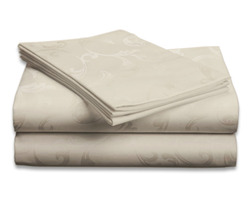 Hotel New York embossed floral sheet set 4 pieces full (Ivory)