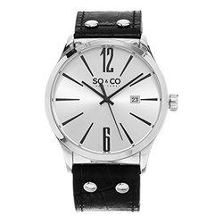 So & Co New York GP15899 Men's 24mm Wristwatch - Black Band/Silver Dial