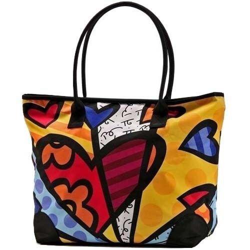 Romero Britto Large Heart Tote Bag Shiny Black Handle Purse