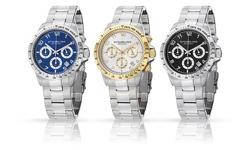 Stuhrling Original Men's Chronograph Dress Watch - Silver Blue