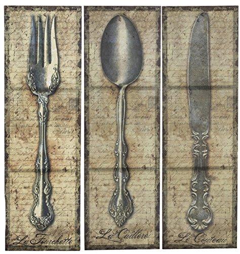 Owi 3 Pcs Vintage Kitchen Silverware Canvas Wall Art Check Back