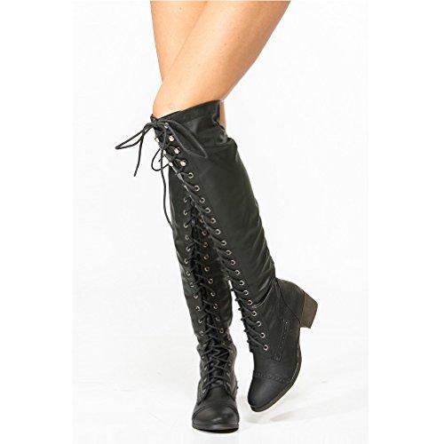 a9b5b773781 ... Breckelles Women s Alabama-12 Knee High Riding Boots - Black - Size  ...