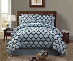 Galaxy Comforter Set W/ Sheets: King-blue/chocolate