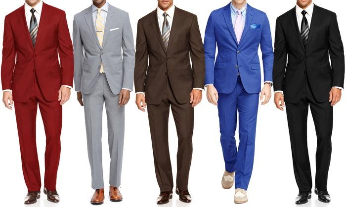 Bernardi Men's 2-Piece Suits - Black/Brown - Size: 46L/40W - Check ...