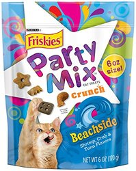 Friskies Beachside Crunch Party Mix Cat Treats 6-Ounce Pouch, Pack of 7