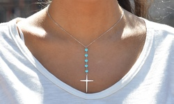 Genuine Turquoise Beaded Cross Necklace - Sterling Silver - 2.00 CTTW