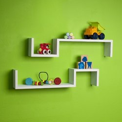 "Danya B Laminate ""S"" Wall Mount Shelves 2 Pcks - White"