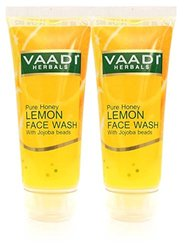 Honey Lemon Face Wash with Jojoba Beads - ALL Natural - Anti Acne - Hydrating Cleanser - Good Moisturizer - Each 60 Ml - Value Pack of 2 (120 Ml - 4.05 Ounces) - Vaadi Herbals