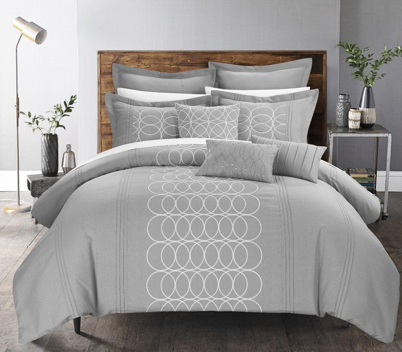 ... 8-Piece Moderna Oversized Geometric Pleated Ruffled Comforter Set -  Gray/Q ...