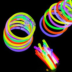 "Etekcity 100 8"" Light Up Glow Sticks Bracelets Necklaces Mixed Colors"