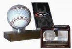BCW Supplies Woodbase Baseball and Card Holder (Real Walnut)