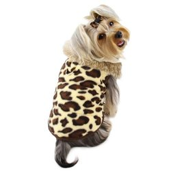 Klippo Pet Adorable Padded Leopard Print Dog Vest with Fur Collar