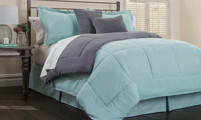Gentil Hotel New York 6 Piece Comforter Set   Jade/Platinum   Size: Full