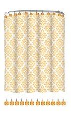 Indecor Home FSCREH-Regal-GLD Fabric Regal Shower Curtain and Resin Hook Set