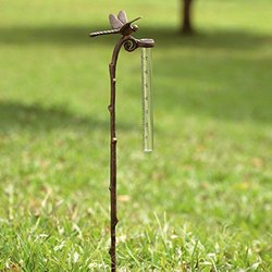 Rain Gauge Dragonfly Garden Stake - SPI Home Aluminum Gauge for Precipitation