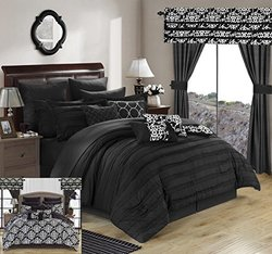 Chic Home 24-Piece Reversible Printed Comforter Set - Black - Size: Queen