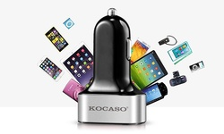 Kocaso 3 Port USB Car Charger - 2.1Amp - Black / Silver