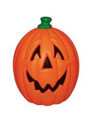 "23"" Orange Fat Light Up Pumpkin With Black Facial Features & Green Ste"