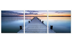 """Ecomidate 60x20"""" 3-Panel Triptych Scenic Dock at Dusk Canvas Print"""