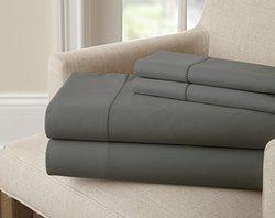 1500 TC cotton rich solid sheet set (4 pc): Charcoal/Queen