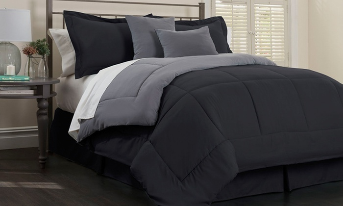 Beau Hotel New York 6 Piece Reversible Comforter Set   Black/Platinum   Size: