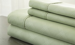 Hotel New York Embossed Plaid Microfiber Bed Sheet Set - Sage - Size: Q