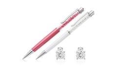 Swarovski Crystal Pen and Swarovski Stud Earring Set: Pink