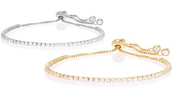 Adjustable Swarovski Elements Tennis Bracelet - Sterling Silver
