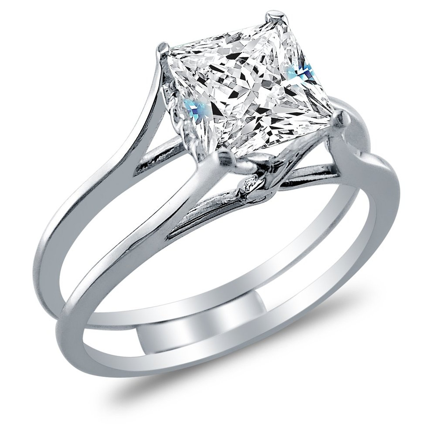 Sonia Jewels Women s Solid 925 SS Princess Cut Engagement Ring