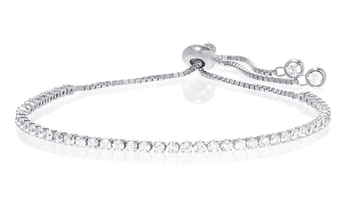 Swarovski Elements Tennis Bracelet Sterling Silver Check Back