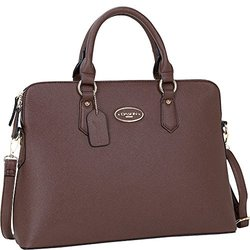 Dasein Slim Briefcase with Removable Shoulder Strap - Coffee