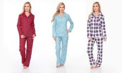 White Mark Women's Flannel Pajama Set - Cheetah - Size: Large