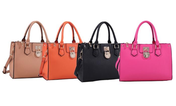 Deluxity Alexa Satchel Or Cross Body Handbag Orange