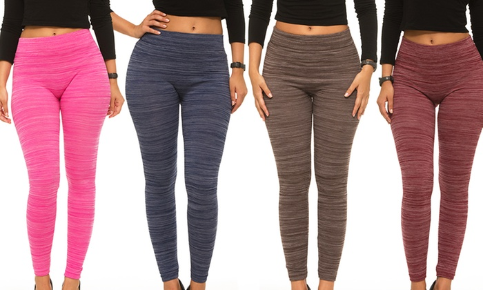 0e2481d03082e ... Coco Limon Women's Fleece Lined Space Dye Leggings 2-pk - Grey/Pink/ ...