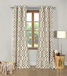 """Duck River Printed Blackout Grommet Pair Panel - Taupe - Size: 38"""" x 84"""""""
