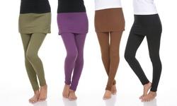 White Mark Women's Skirted Leggings - Olive - Size: Medium
