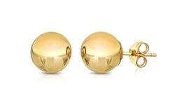 Best Silver 14K Solid Yellow Gold Ball Stud Earrings - 4mm