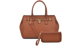 Deluxity Portia Satchel Handbag and Wallet Set - Tan