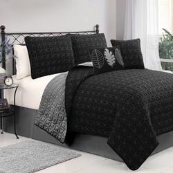 VCNY Hayden 5 Piece Quilt Set - Black/Grey - Size: Queen