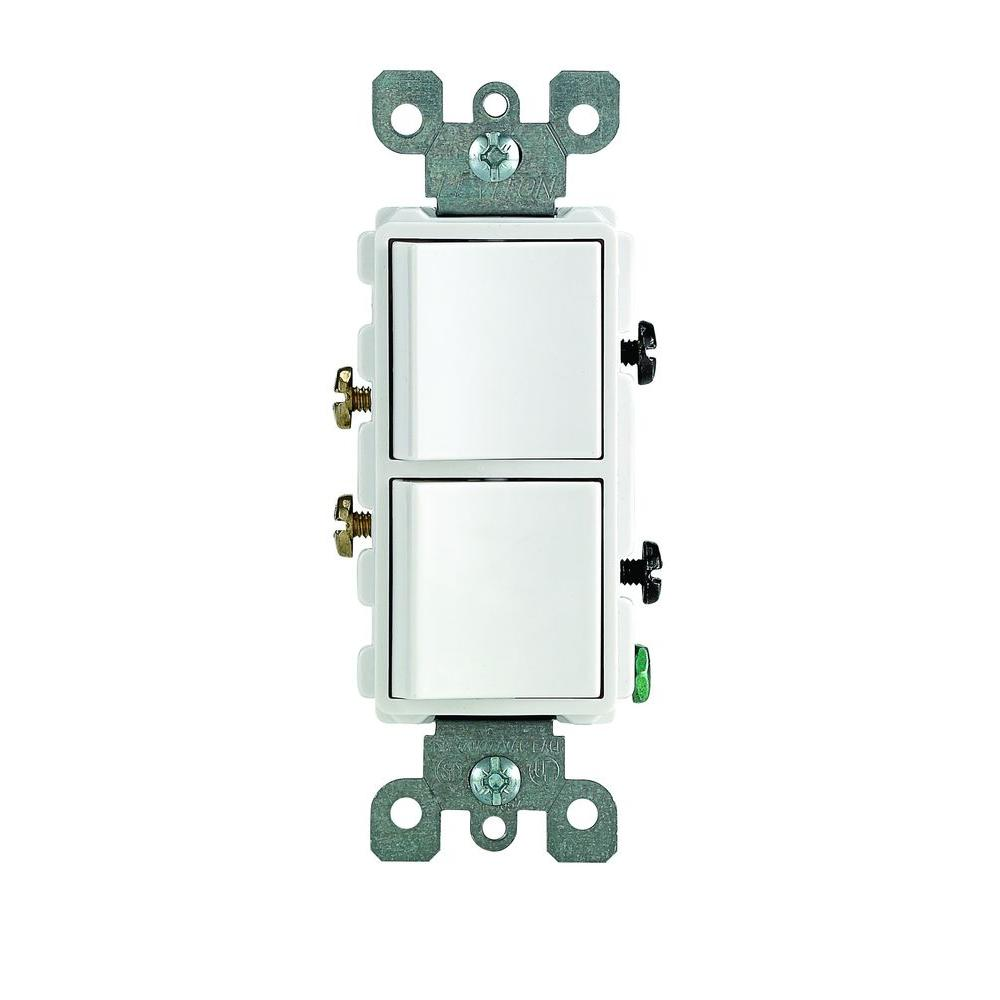 Wiring A Double Light Switch Decora Trusted Diagrams How To Wire Diagram Leviton 15 Amp Single Pole Dual White R62 05634 0ws Rh Blinq Com 2 Different Switches Three Way Two