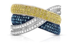 Women's 1.33 CTTW Sterling Silver Diamond Ring - Blue/Yellow/White -Size:5