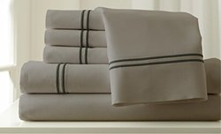 Pacific Coast 6Pc 1000TC Egyptian Bed Sheet Set- Silver/graphite/ Cal. K