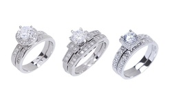 Sterling Silver 18k White Gold-plated Cz Ring Set - Fancy Halo - Size: 5