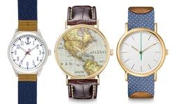 Anchor Men's Woven Dial Watch - Navy Strape/White Dial