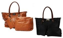 Rimen & Co. Women's Turn Lock Closure 3-in-1 Multi-purpose Tote: Brown